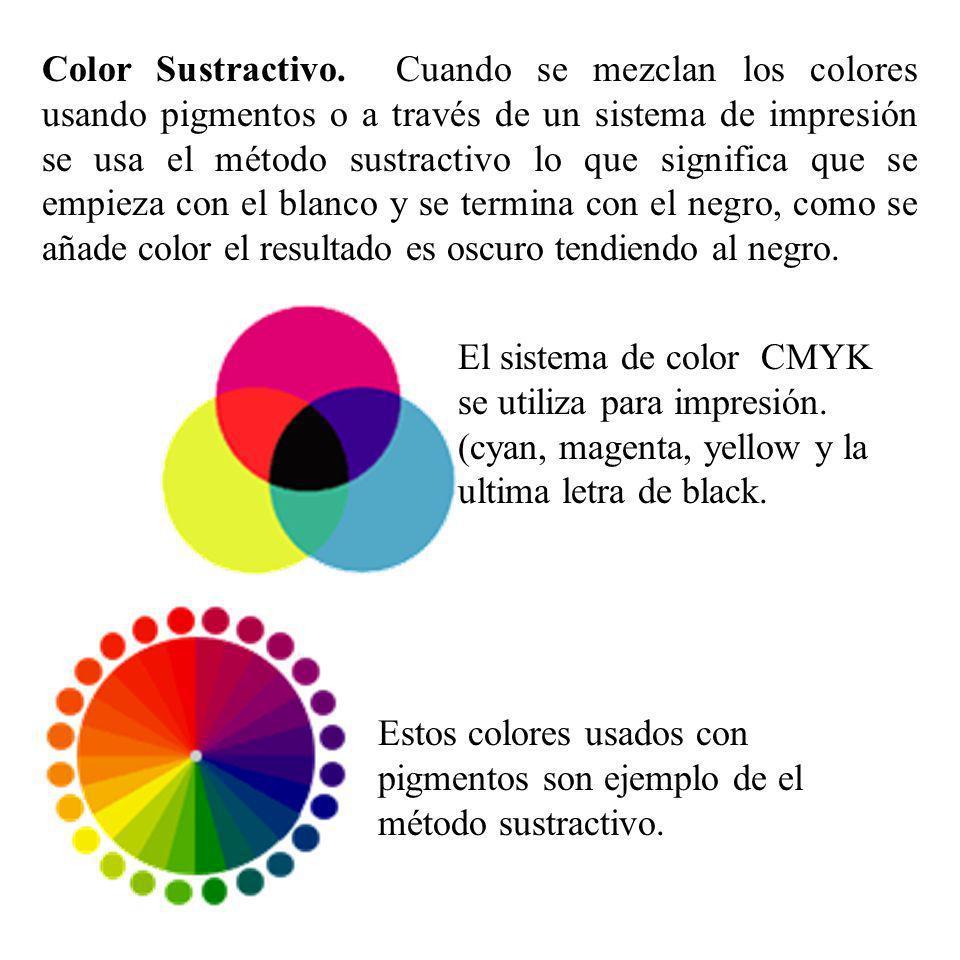 Color Sustractivo. Cuando se mezclan los colores usando pigmentos o a través de un sistema de impresión se usa el método sustractivo lo que significa