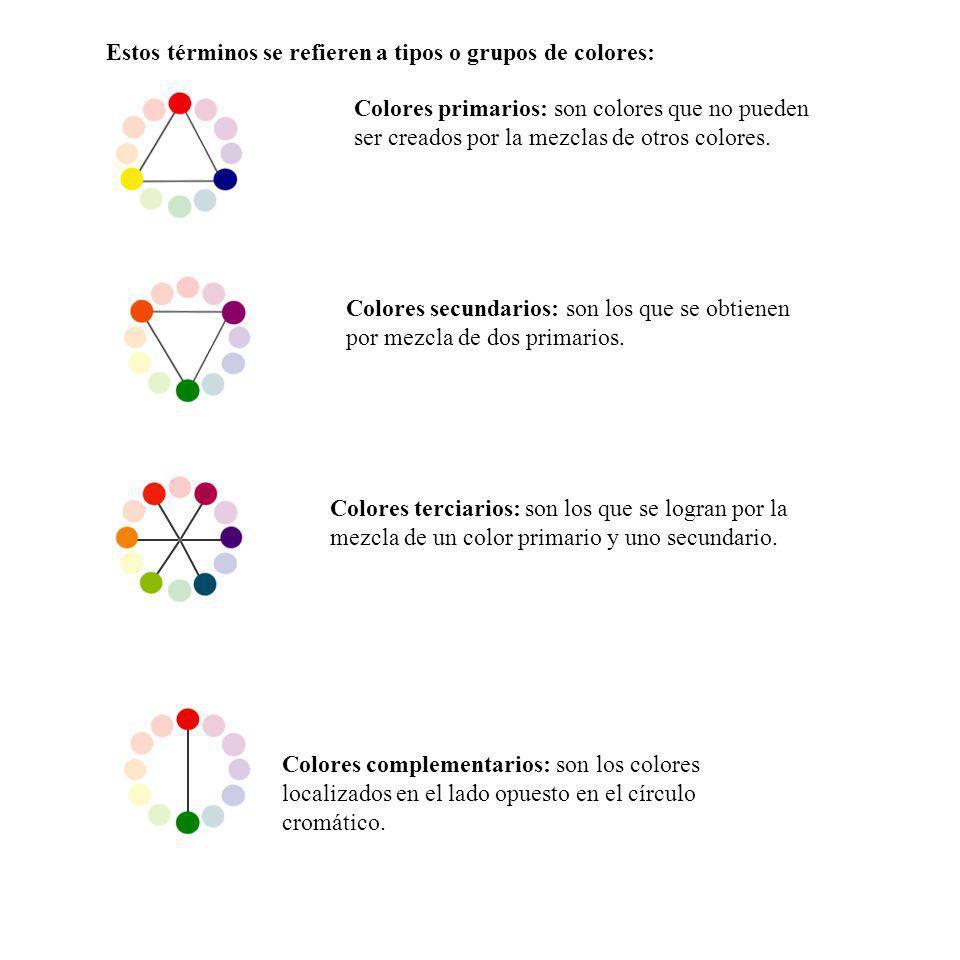 Estos términos se refieren a tipos o grupos de colores: Colores primarios: son colores que no pueden ser creados por la mezclas de otros colores. Colo