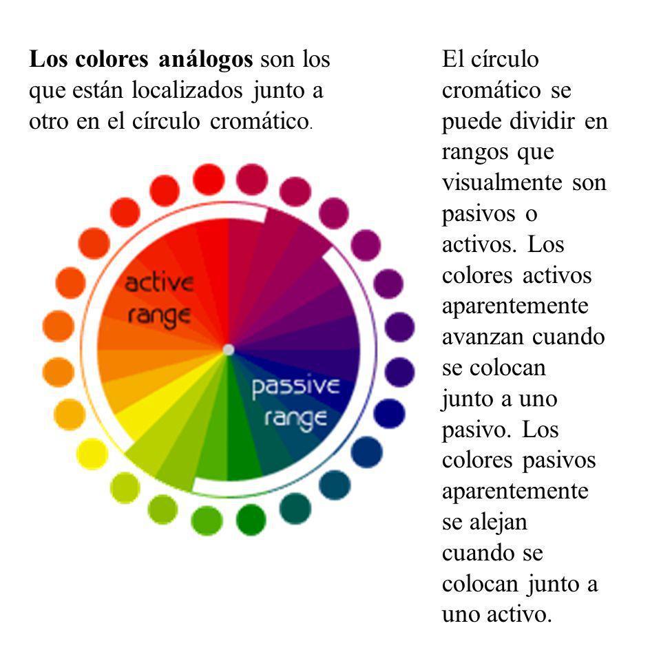 Los colores análogos son los que están localizados junto a otro en el círculo cromático. El círculo cromático se puede dividir en rangos que visualmen