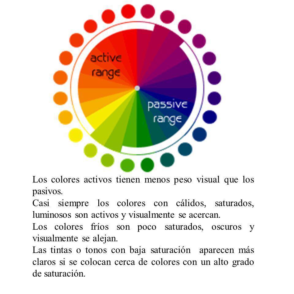 Los colores activos tienen menos peso visual que los pasivos. Casi siempre los colores con cálidos, saturados, luminosos son activos y visualmente se