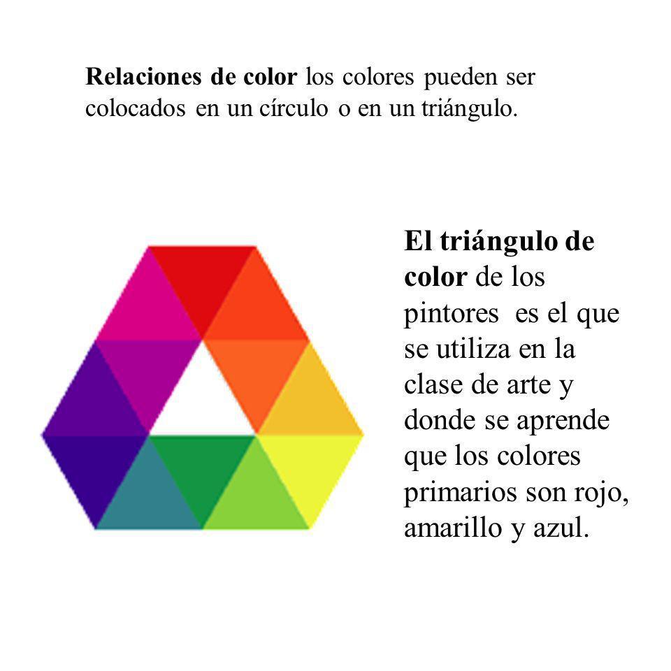 Relaciones de color los colores pueden ser colocados en un círculo o en un triángulo. El triángulo de color de los pintores es el que se utiliza en la