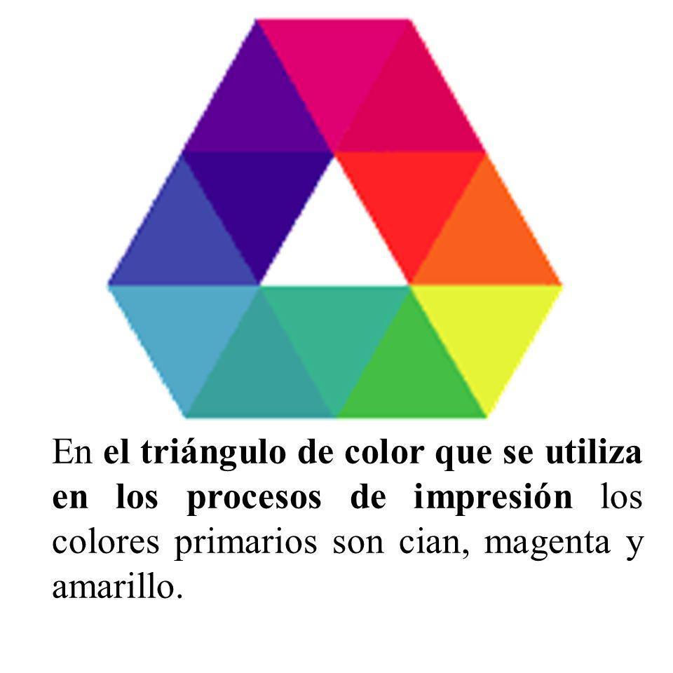 En el triángulo de color que se utiliza en los procesos de impresión los colores primarios son cian, magenta y amarillo.