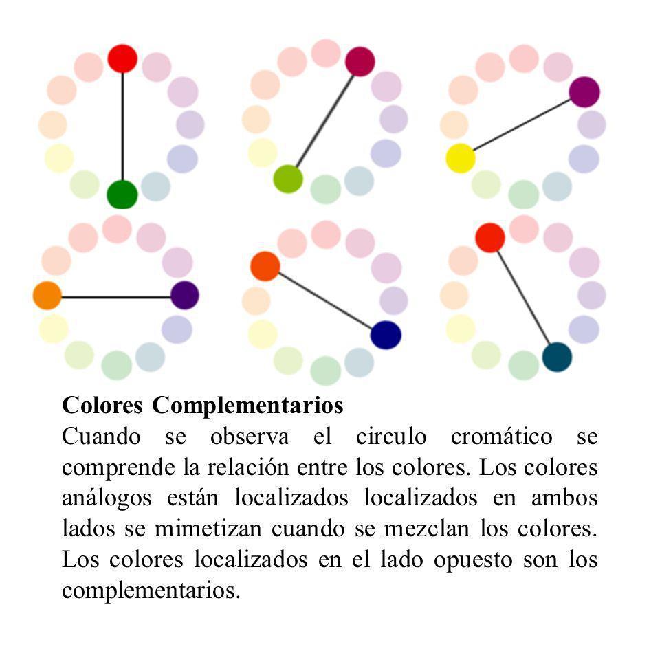 Colores Complementarios Cuando se observa el circulo cromático se comprende la relación entre los colores. Los colores análogos están localizados loca