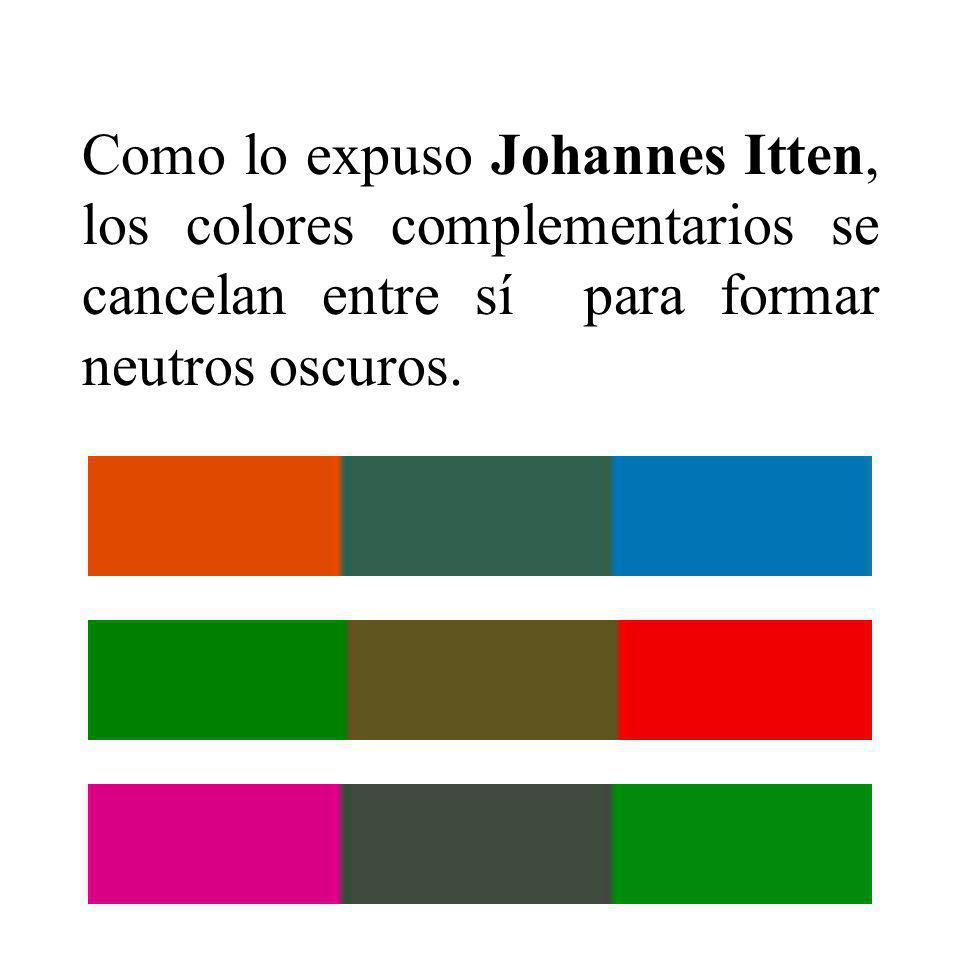 Como lo expuso Johannes Itten, los colores complementarios se cancelan entre sí para formar neutros oscuros.