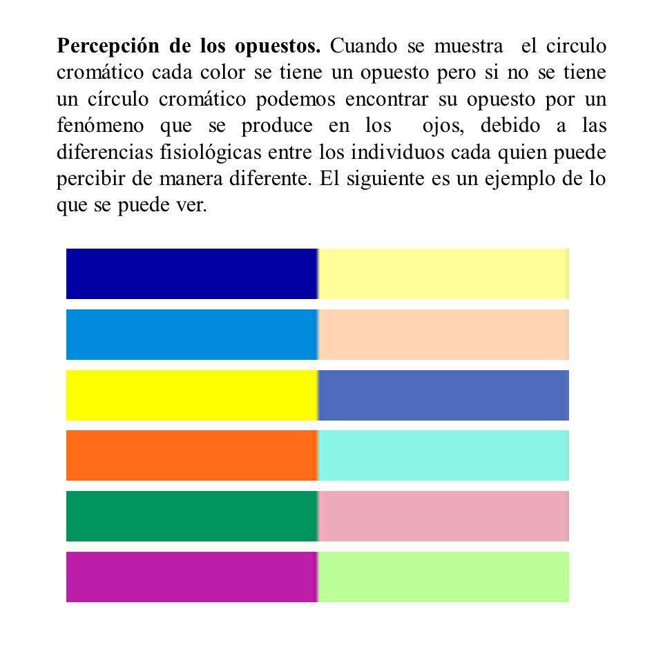 Percepción de los opuestos. Cuando se muestra el circulo cromático cada color se tiene un opuesto pero si no se tiene un círculo cromático podemos enc