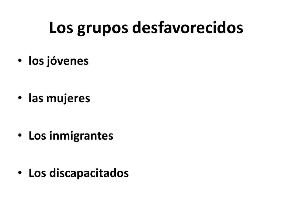 Los grupos desfavorecidos los jóvenes las mujeres Los inmigrantes Los discapacitados