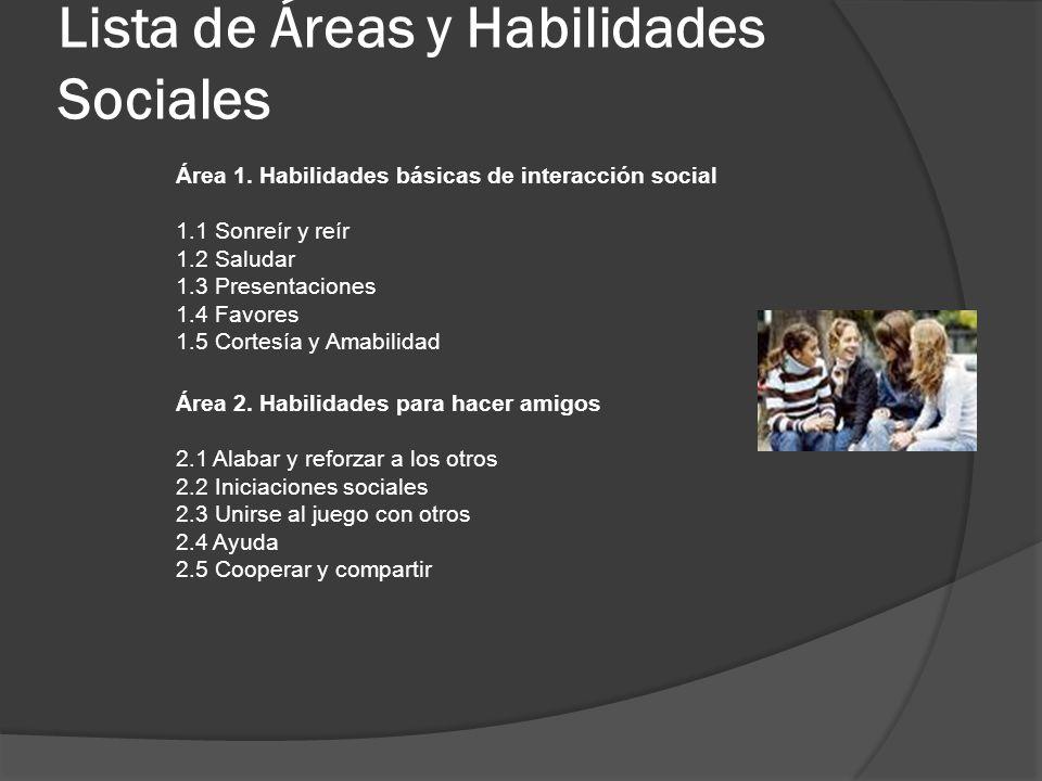 Lista de Áreas y Habilidades Sociales Área 1. Habilidades básicas de interacción social 1.1 Sonreír y reír 1.2 Saludar 1.3 Presentaciones 1.4 Favores