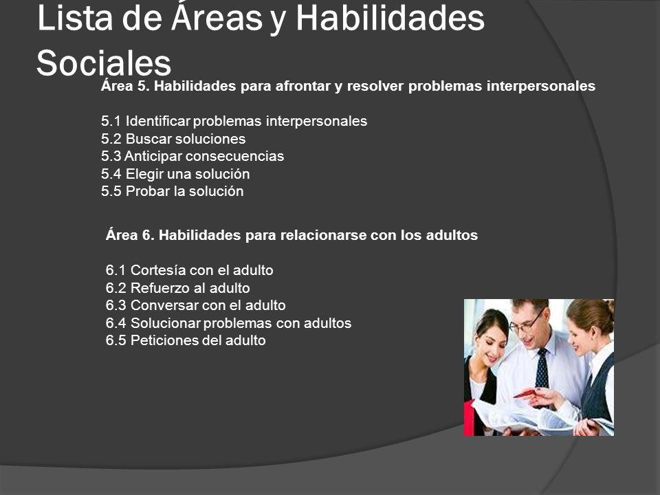 Lista de Áreas y Habilidades Sociales Área 5. Habilidades para afrontar y resolver problemas interpersonales 5.1 Identificar problemas interpersonales