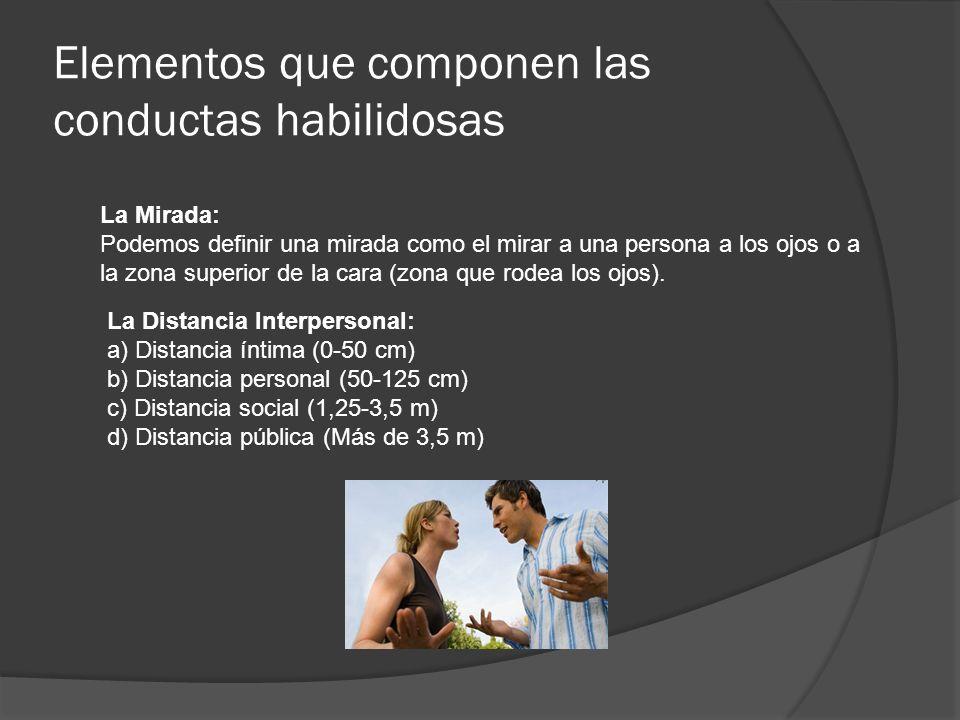 Elementos que componen las conductas habilidosas La Mirada: Podemos definir una mirada como el mirar a una persona a los ojos o a la zona superior de la cara (zona que rodea los ojos).