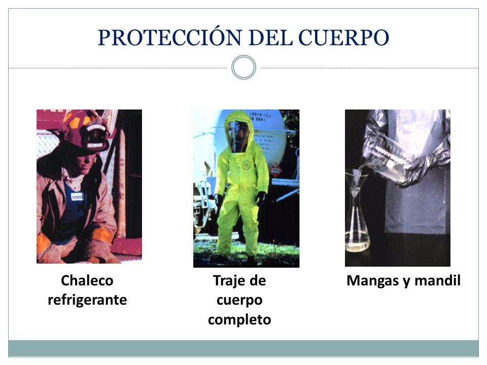 PROTECCIÓN CORPORAL Tipos de vestimenta protectora: Chalecos Mandiles, delantales Chaquetas Overoles Trajes para todo el cuerpo