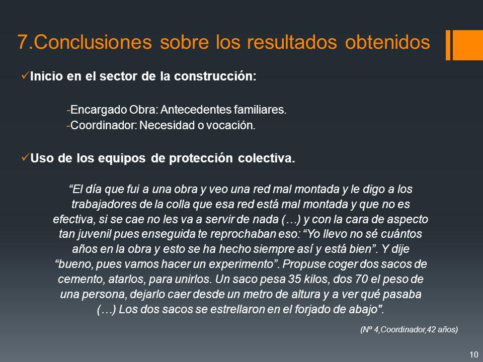 7.Conclusiones sobre los resultados obtenidos Inicio en el sector de la construcción: - Encargado Obra: Antecedentes familiares. -Coordinador: Necesid
