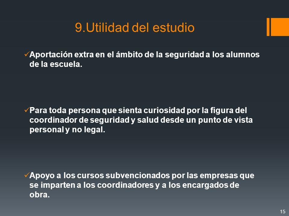 9.Utilidad del estudio Aportación extra en el ámbito de la seguridad a los alumnos de la escuela. Para toda persona que sienta curiosidad por la figur