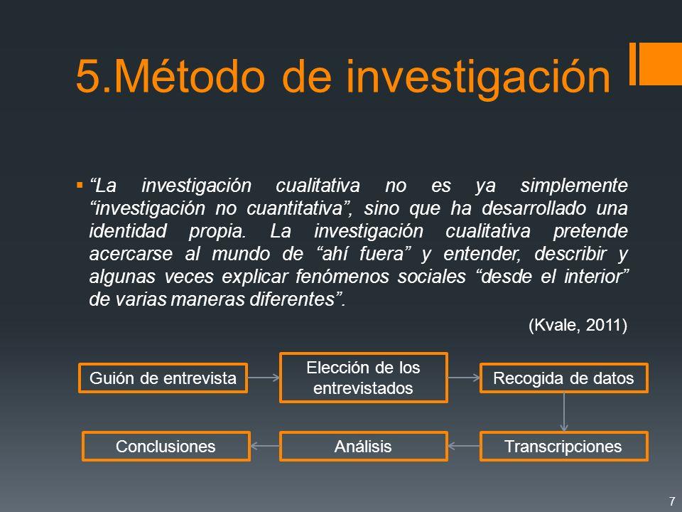 5.Método de investigación La investigación cualitativa no es ya simplemente investigación no cuantitativa, sino que ha desarrollado una identidad prop