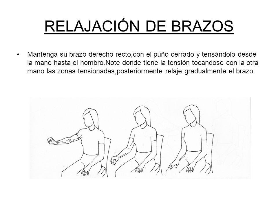 RELAJACIÓN DE CUELLO Movimiento anterior y posterior del cuello Se moverá la cabeza hacia delante hasta que la barbilla toque el pecho.Se deberá notar