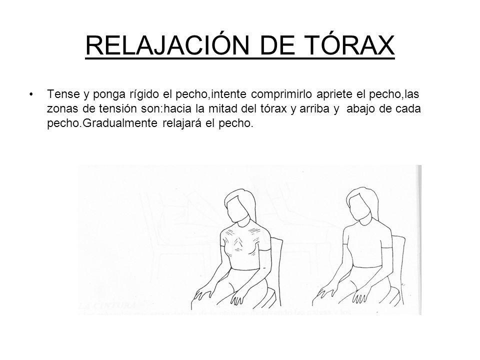 RELAJACIÓN DE ESPALDA Incline hacia delante su cuerpo en la silla,levantará los codos e intentará unirlos en la espalda,se les hará notar las zonas de