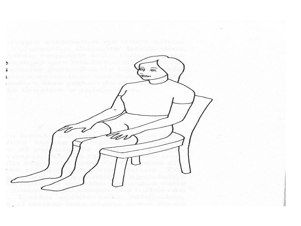 RELAJACION EN OTRAS POSICIONES RELAJACIÓN ESTANDO DE PIE Póngase de pie,mantenga la cabeza recta sobre los hombros,tense todo su cuerpo,apriete las manos a ambos lados de su cuerpo,meta hacia dentro el estómago y tense los muslos y las nalgas asi como las rodillas.