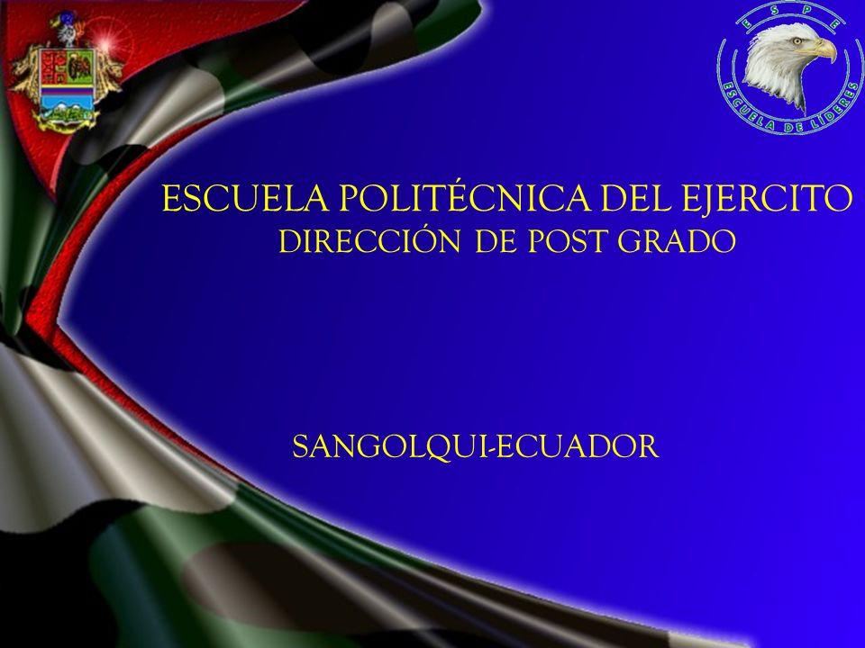 ESCUELA POLITÉCNICA DEL EJERCITO DIRECCIÓN DE POST GRADO SANGOLQUI-ECUADOR
