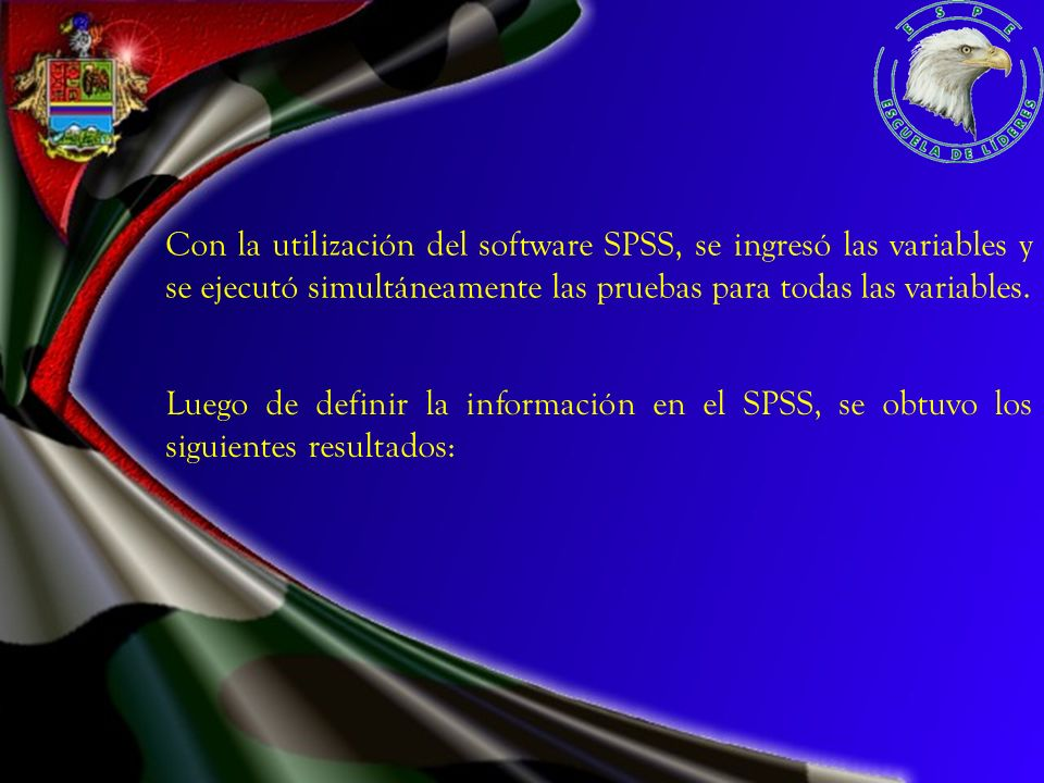 Con la utilización del software SPSS, se ingresó las variables y se ejecutó simultáneamente las pruebas para todas las variables. Luego de definir la