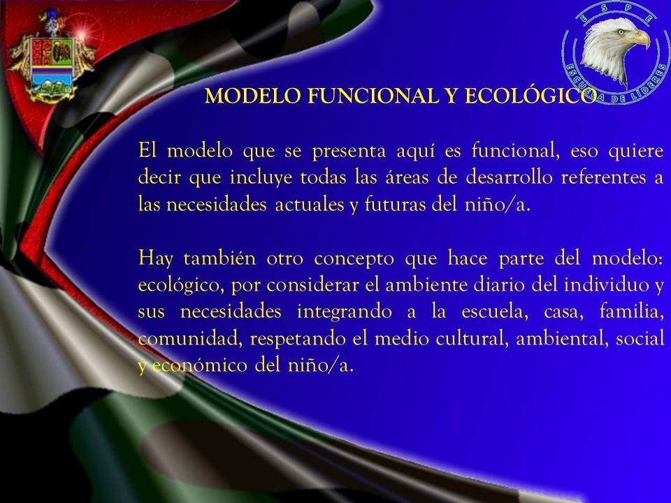 MODELO FUNCIONAL Y ECOLÓGICO El modelo que se presenta aquí es funcional, eso quiere decir que incluye todas las áreas de desarrollo referentes a las