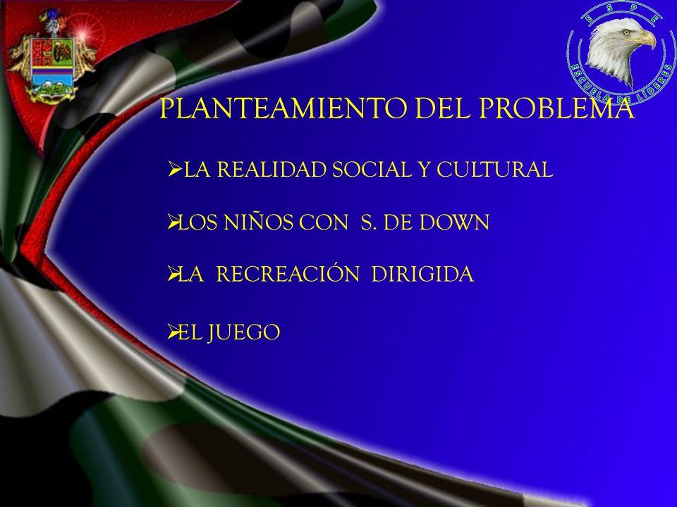 PLANTEAMIENTO DEL PROBLEMA LOS NIÑOS CON S. DE DOWN LA REALIDAD SOCIAL Y CULTURAL LA RECREACIÓN DIRIGIDA EL JUEGO