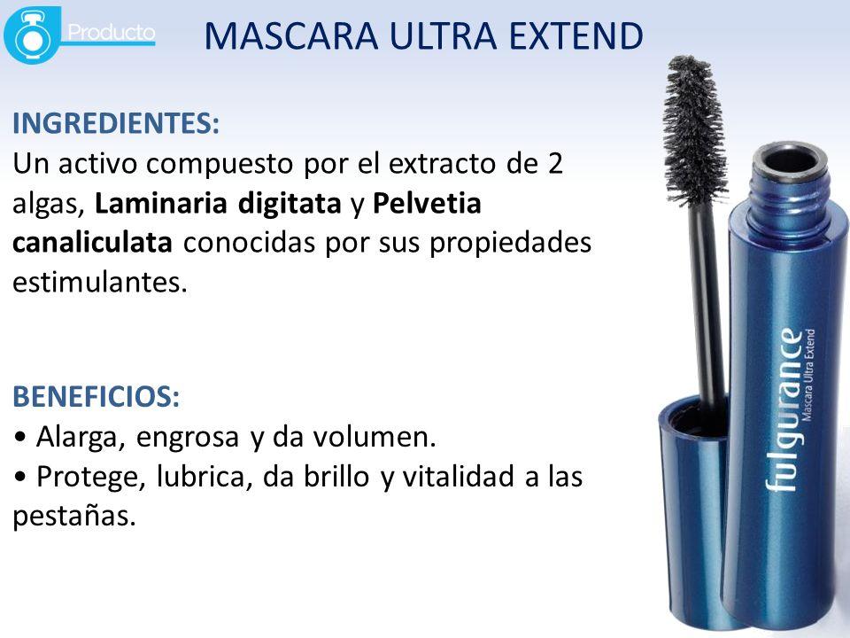 MASCARA ULTRA EXTEND INGREDIENTES: Un activo compuesto por el extracto de 2 algas, Laminaria digitata y Pelvetia canaliculata conocidas por sus propie