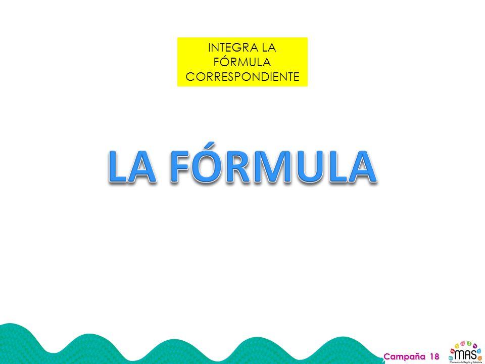 INTEGRA LA FÓRMULA CORRESPONDIENTE Campaña 18