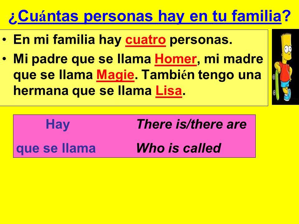 ¿Cu á ntas personas hay en tu familia. En mi familia hay cuatro personas.