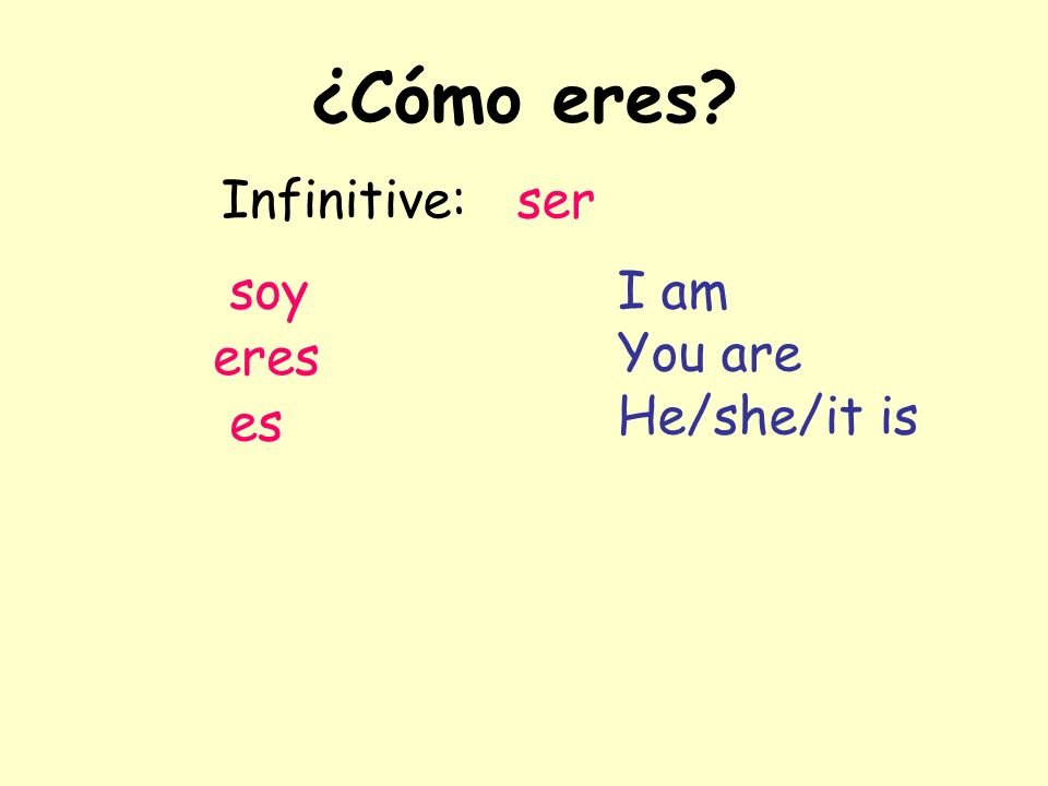¿Cómo eres Infinitive: ser soy eres es I am You are He/she/it is