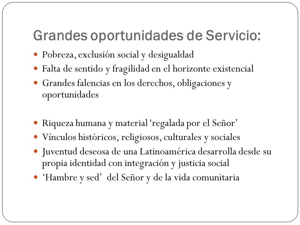 Grandes oportunidades de Servicio: Pobreza, exclusión social y desigualdad Falta de sentido y fragilidad en el horizonte existencial Grandes falencias