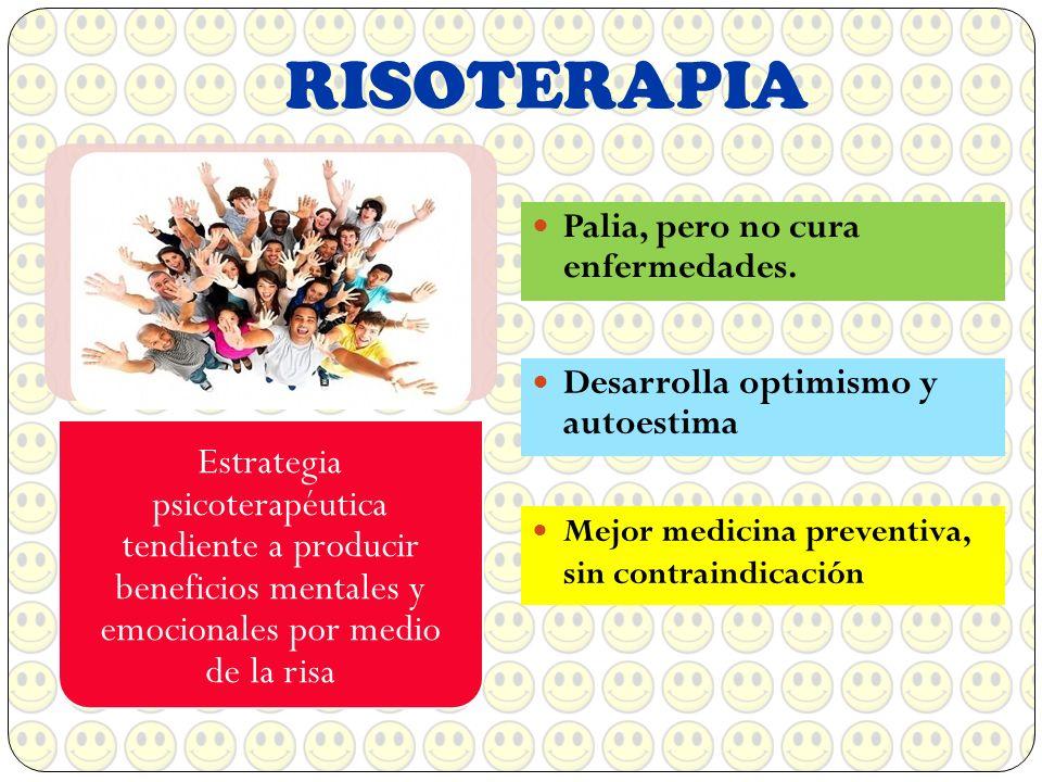 RISOTERAPIA Palia, pero no cura enfermedades. Estrategia psicoterapéutica tendiente a producir beneficios mentales y emocionales por medio de la risa
