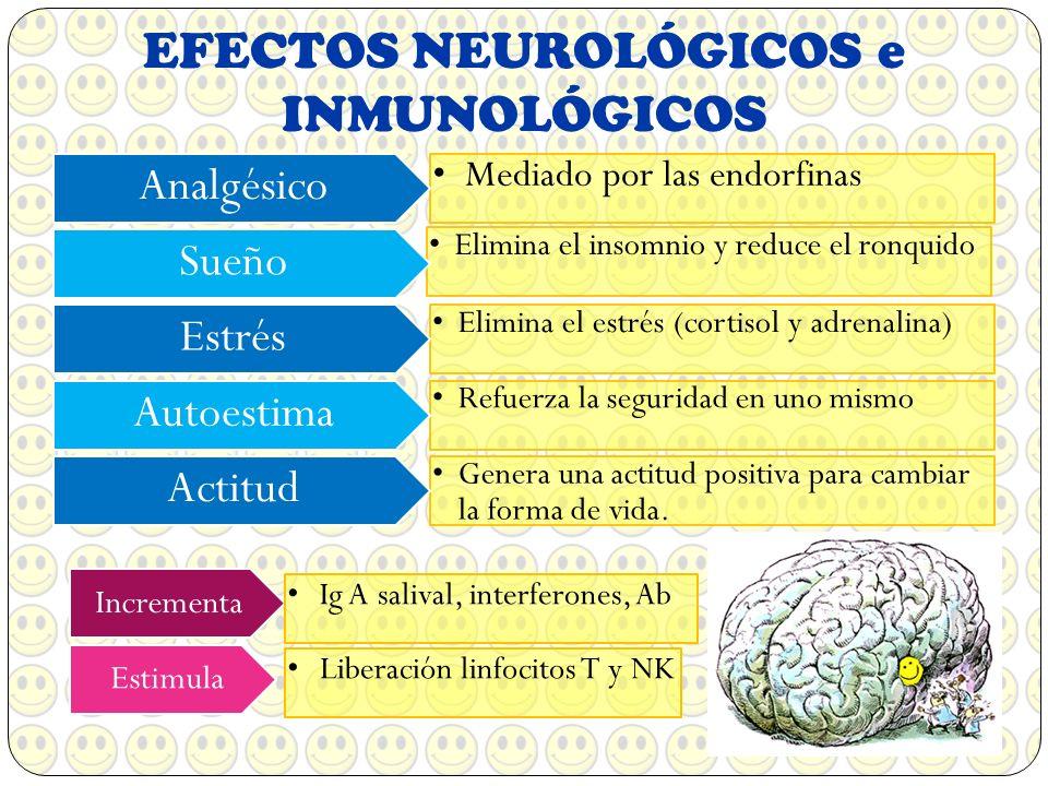 EFECTOS NEUROLÓGICOS e INMUNOLÓGICOS Mediado por las endorfinas Analgésico Elimina el insomnio y reduce el ronquido Sueño Elimina el estrés (cortisol