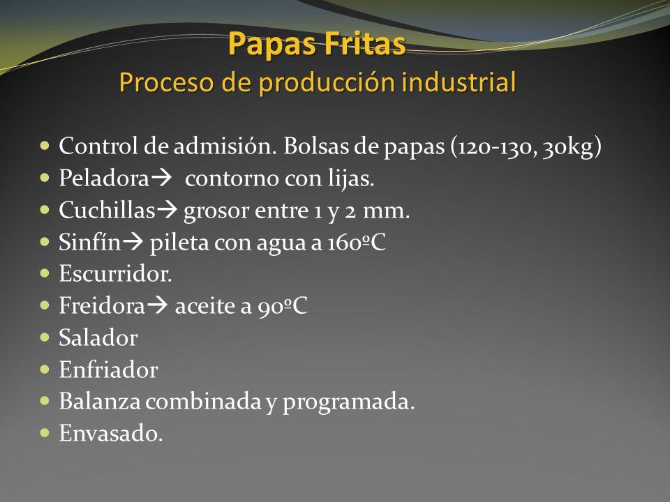 Papas Fritas Proceso de producción industrial Control de admisión. Bolsas de papas (120-130, 30kg) Peladora contorno con lijas. Cuchillas grosor entre