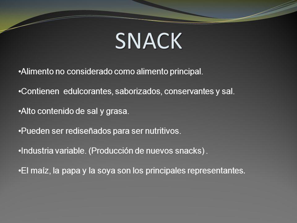 SNACK Alimento no considerado como alimento principal. Contienen edulcorantes, saborizados, conservantes y sal. Alto contenido de sal y grasa. Pueden