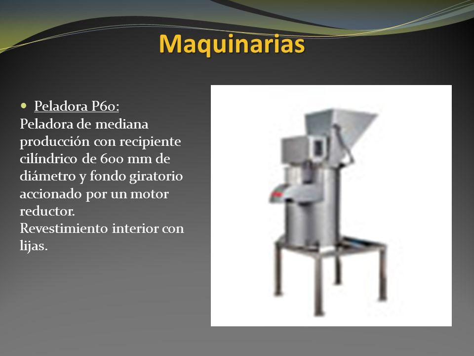Maquinarias Peladora P60: Peladora de mediana producción con recipiente cilíndrico de 600 mm de diámetro y fondo giratorio accionado por un motor redu
