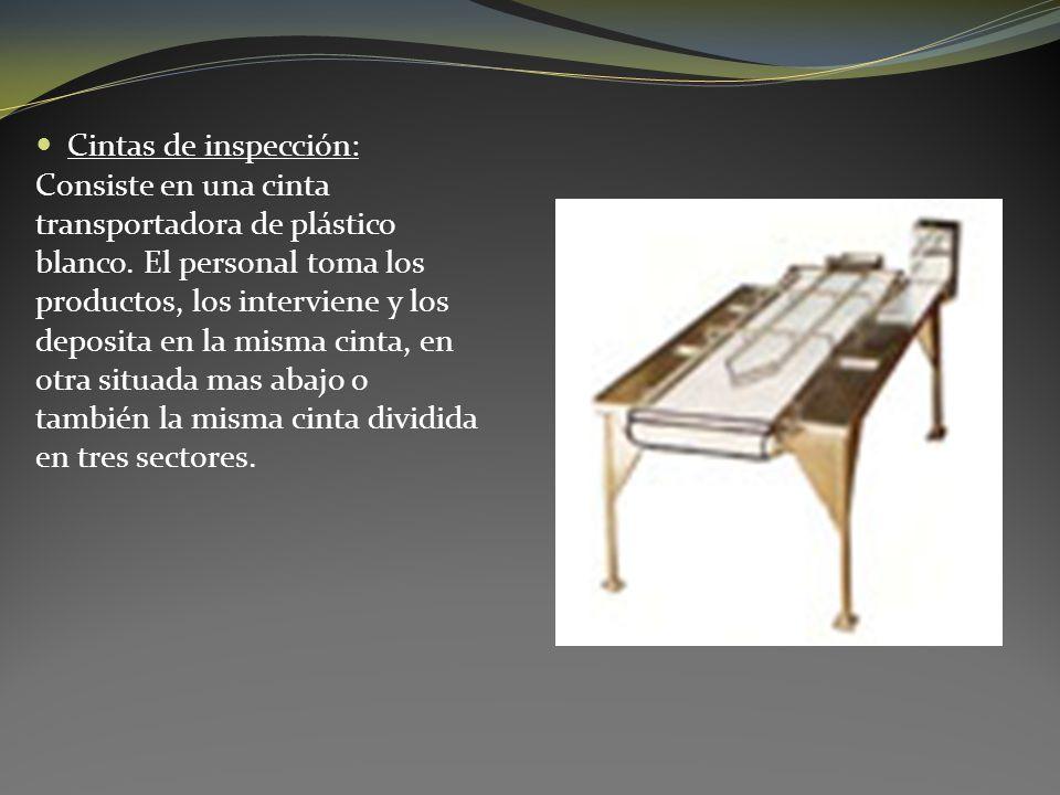 Cintas de inspección: Consiste en una cinta transportadora de plástico blanco. El personal toma los productos, los interviene y los deposita en la mis