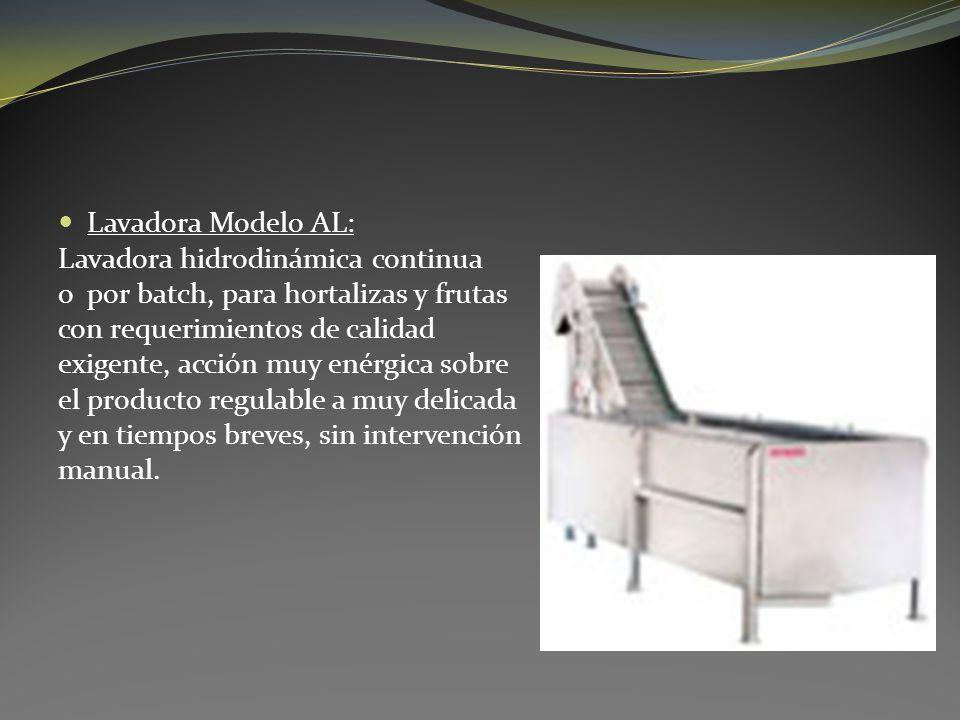 Lavadora Modelo AL: Lavadora hidrodinámica continua o por batch, para hortalizas y frutas con requerimientos de calidad exigente, acción muy enérgica