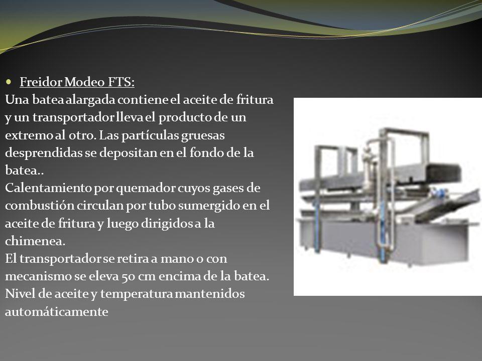 Freidor Modeo FTS: Una batea alargada contiene el aceite de fritura y un transportador lleva el producto de un extremo al otro. Las partículas gruesas