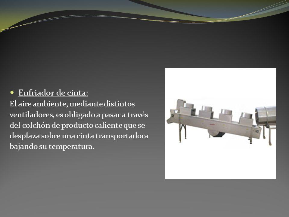 Enfriador de cinta: El aire ambiente, mediante distintos ventiladores, es obligado a pasar a través del colchón de producto caliente que se desplaza s