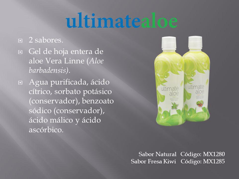 2 sabores. Gel de hoja entera de aloe Vera Linne ( Aloe barbadensis). Agua purificada, ácido cítrico, sorbato potásico (conservador), benzoato sódico