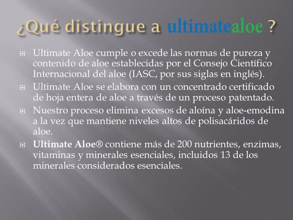 Ultimate Aloe cumple o excede las normas de pureza y contenido de aloe establecidas por el Consejo Científico Internacional del aloe (IASC, por sus si