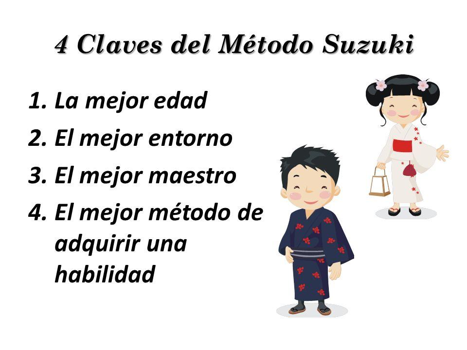 4 Claves del Método Suzuki 1.La mejor edad 2.El mejor entorno 3.El mejor maestro 4.El mejor método de adquirir una habilidad