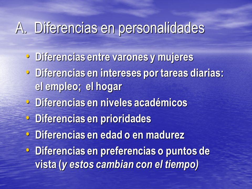 A. Diferencias en personalidades Diferencias entre varones y mujeres Diferencias entre varones y mujeres Diferencias en intereses por tareas diarias: