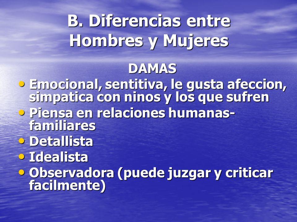 B. Diferencias entre Hombres y Mujeres DAMAS Emocional, sentitiva, le gusta afeccion, simpatica con ninos y los que sufren Emocional, sentitiva, le gu