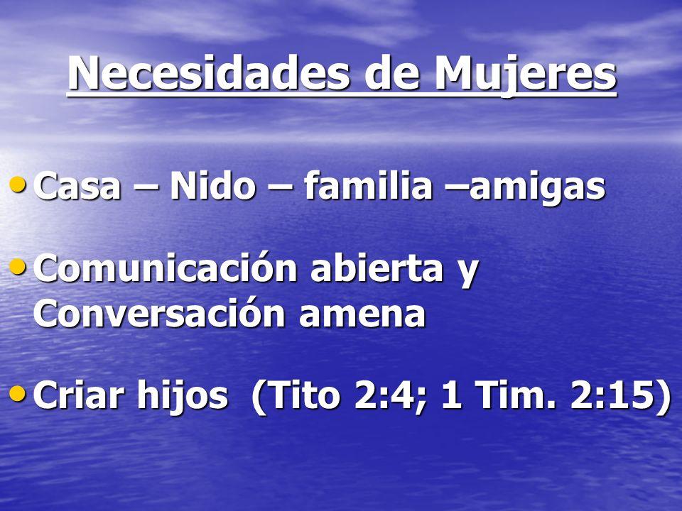 Necesidades de Mujeres Casa – Nido – familia –amigas Casa – Nido – familia –amigas Comunicación abierta y Conversación amena Comunicación abierta y Co