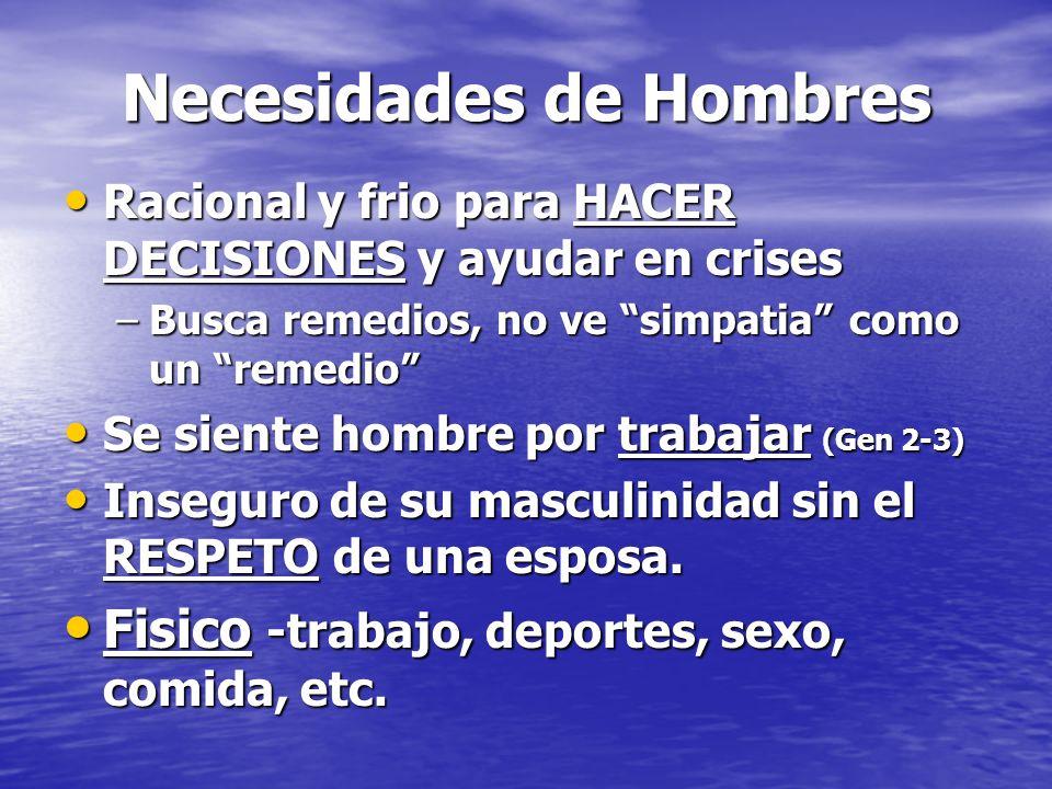 Necesidades de Hombres Racional y frio para HACER DECISIONES y ayudar en crises Racional y frio para HACER DECISIONES y ayudar en crises –Busca remedi