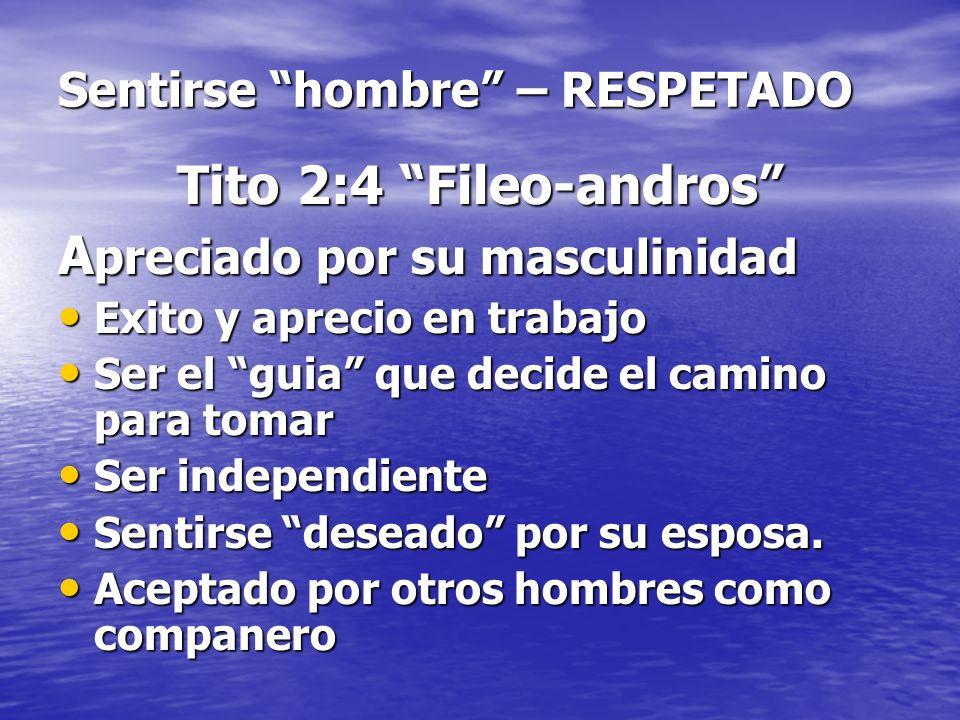 Sentirse hombre – RESPETADO Tito 2:4 Fileo-andros A preciado por su masculinidad Exito y aprecio en trabajo Exito y aprecio en trabajo Ser el guia que
