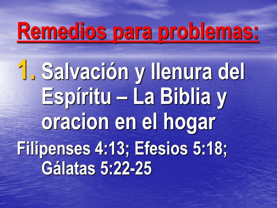 Remedios para problemas: 1. Salvación y llenura del Espíritu – La Biblia y oracion en el hogar Filipenses 4:13; Efesios 5:18; Gálatas 5:22-25