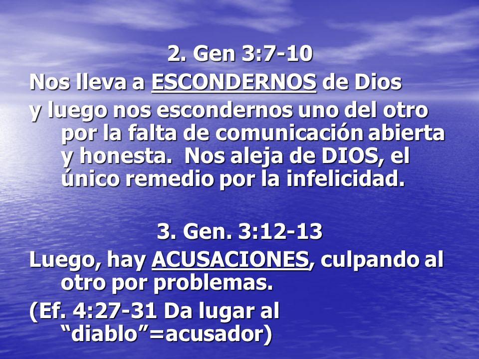 2. Gen 3:7-10 Nos lleva a ESCONDERNOS de Dios y luego nos escondernos uno del otro por la falta de comunicación abierta y honesta. Nos aleja de DIOS,