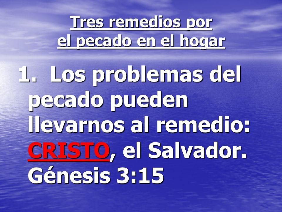 Tres remedios por el pecado en el hogar 1. Los problemas del pecado pueden llevarnos al remedio: CRISTO, el Salvador. Génesis 3:15