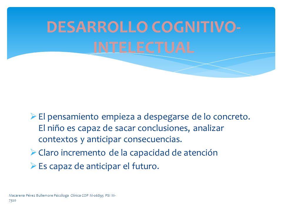 DESARROLLO COGNITIVO- INTELECTUAL El pensamiento empieza a despegarse de lo concreto. El niño es capaz de sacar conclusiones, analizar contextos y ant